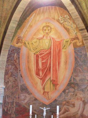 l'étonnant Christ à l'épée ds l'église catholique