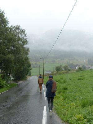 ballade sous al pluie à Viksdalen
