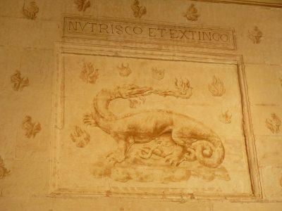 les armoiries de François 1er, la Salamandre.